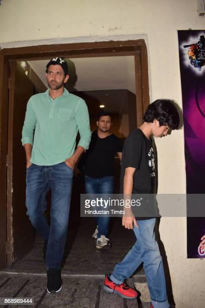 Bollywood actor Hrithik Roshan spotted with his son Hrehaan Roshan at PVR Juhu during family get together on October 29 2017 in Mumbai