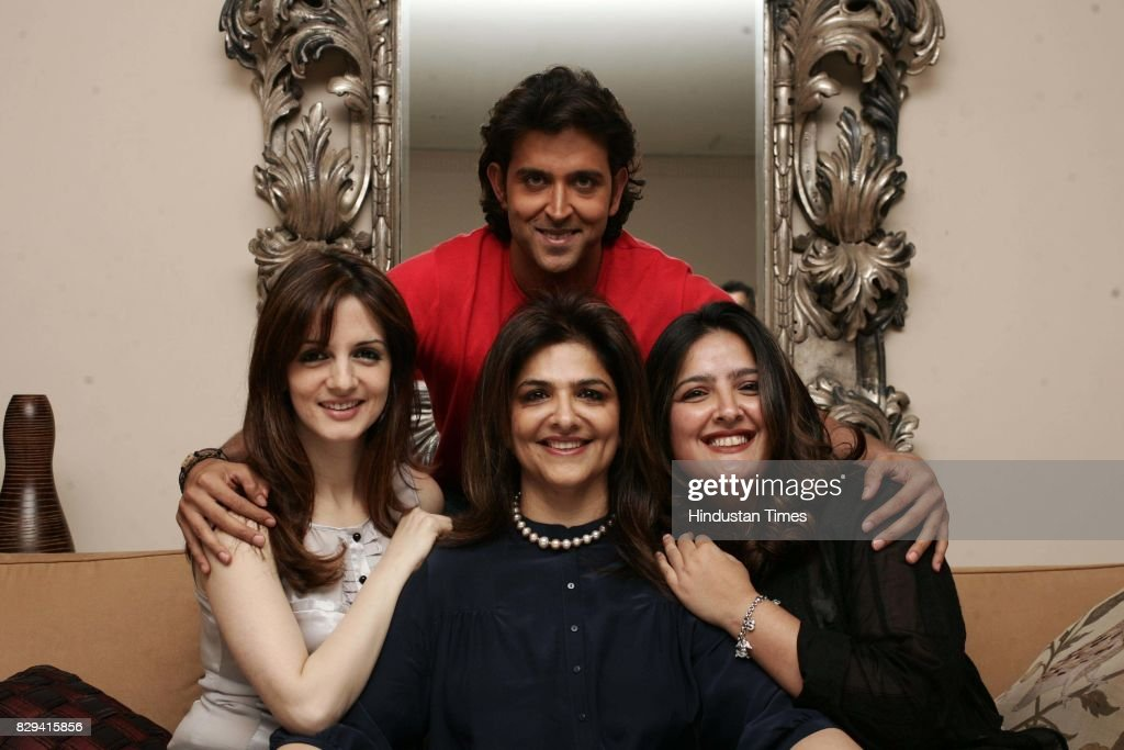 Bollywood actor Hrithik Roshan with mother Pinki and sister
