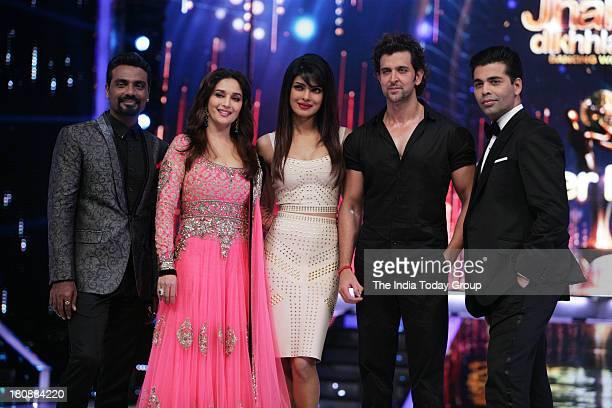 Bollywood actor Hrithik Roshan with Remo D'souza Madhuri Dixit Priyanka Chopra and Karan Johar at Jhalak Dikhla Ja set for the promotion of his...