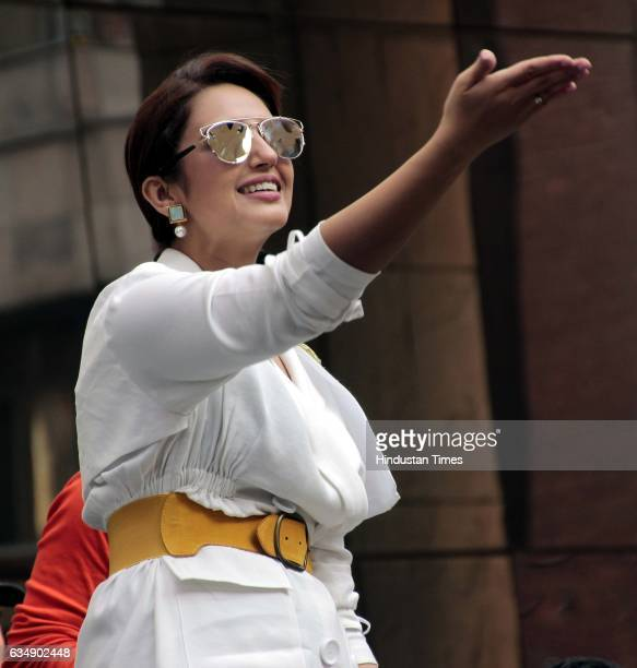 Bollywood actor Huma Qureshi during the promotion of upcoming movie Jolly LLB 2 at Amity University on February 6 2017 in Noida India Jolly LLB 2 is...