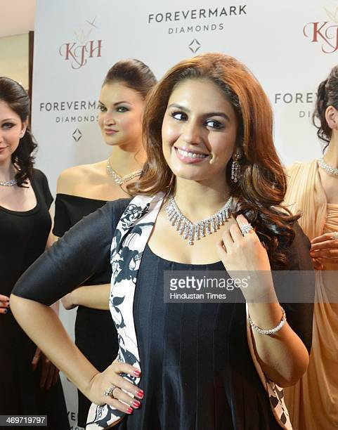 Bollywood actor Huma Qureshi launches a jewellery collection at Khurana Jewellery House on February 16 2014 in Amritsar India