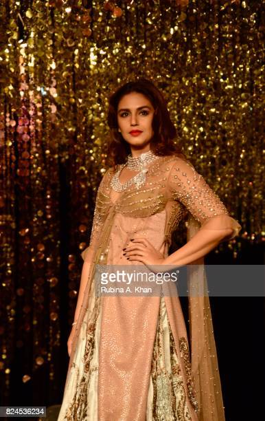 Bollywood actor Huma Qureshi walks for Rina Dhaka during FDCI's India Couture Week 2017 at the Taj Palace hotel on July 30 2017 in New Delhi India