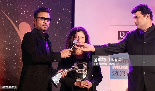 Bollywood actor Irrfan Khan and film producer Siddharth Roy Kapur during the Hindustan Times Mumbai's Most Stylish Awards 2015 at JW Mariott Hotel,...