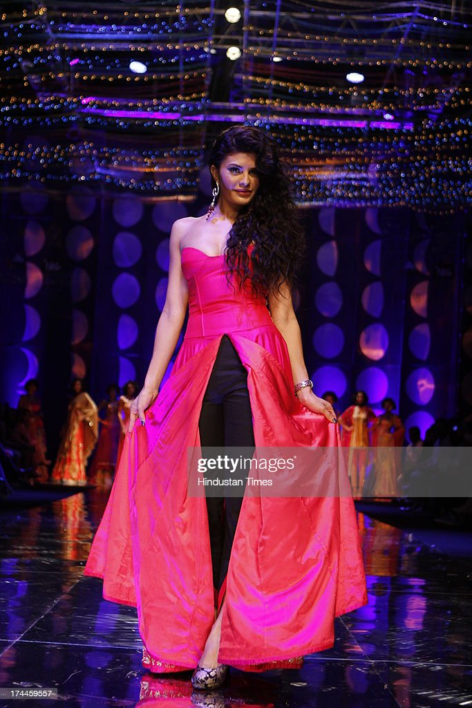 Bollywood actor Jacqueline Fernandez was showstopper for Jyotsna Tiwari during the Indian Bridal Fashion Week held at The Grand on July 24 2013 in...