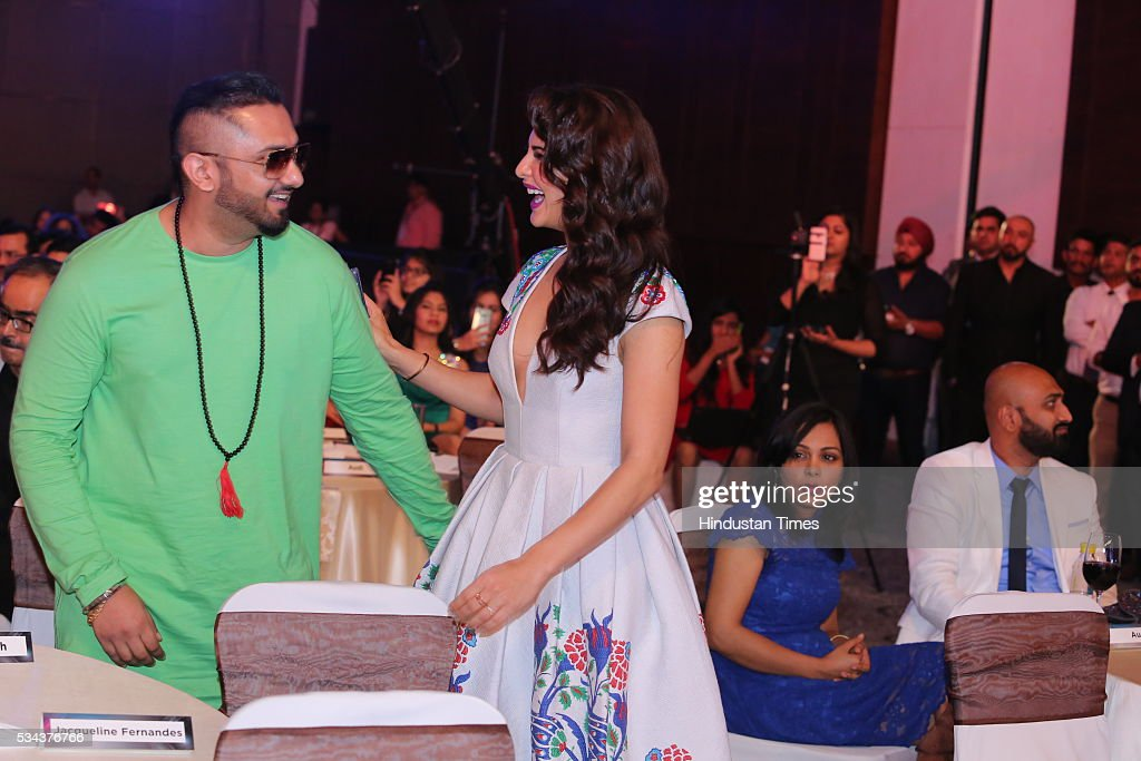 Bollywood actor Jacqueline Fernandez with singer Yo Yo Honey Singh during the sixth edition of Hindustan Times Most Stylish Awards 2016 at Hotel JW...