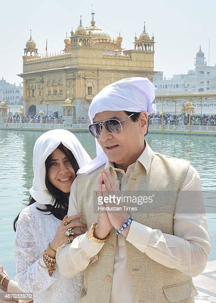 Bollywood actor Jeetendra and daughter and TV and film producer Ekta Kapoor pay obeisance at Golden Temple on March 20 2015 in Amritsar India