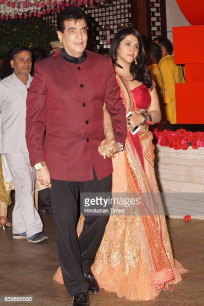 Bollywood actor Jeetendra with Ekta Kapoor during the Ganesh Puja hosted by Mukesh Ambani Chairman of Reliance Industries Ltd at his residence to...