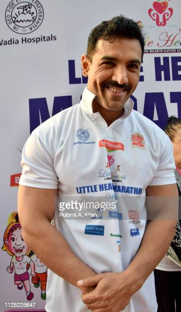 Bollywood actor John Abraham flags off the sixth edition of the Britannia Little Hearts Marathon 2019 on January 27 2019 in Mumbai India