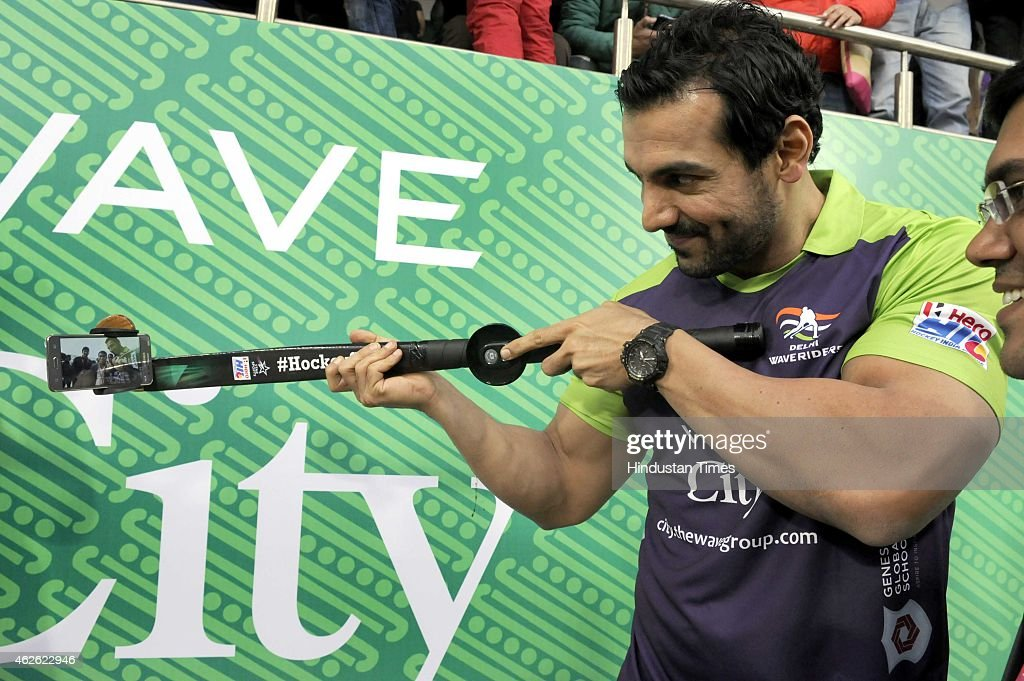 Bollywood actor John Abraham met with people during a match between Delhi Waveriders and Dabang Mumbai during the Hero Hockey India League at Major Dhyan Chand National Stadium, on February 1, 2015 in New Delhi, India.