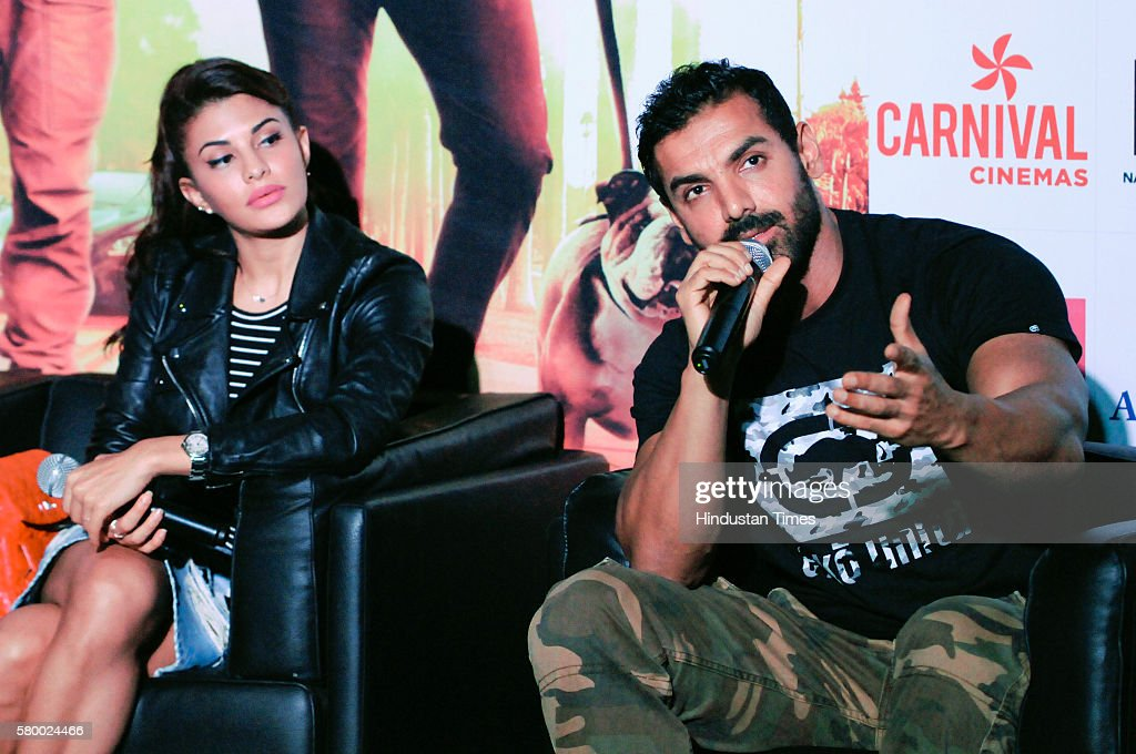 Bollywood actor John Abraham speaks during a promotional event for the upcoming film `Dishoom` on July 25 2016 in Noida India Dishoom is an upcoming..