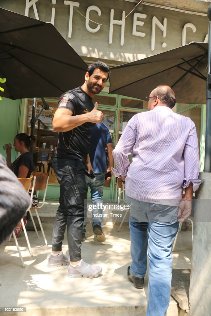 Bollywood actor John Abraham visited an eatery, in Bandra (W), on February 20, 2018 in Mumbai, India.