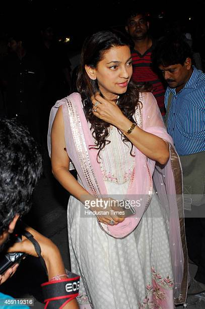 Bollywood actor Juhi Chawla during the condolence meeting organised in the memory of late filmmaker Ravi Chopra at Blue sea Hotel Worli on November...