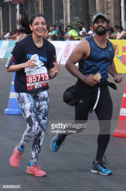 Bollywood actor Kajal Agarwal during the Tata Mumbai Marathon 2018 at CSMT on January 21 2018 in Mumbai India