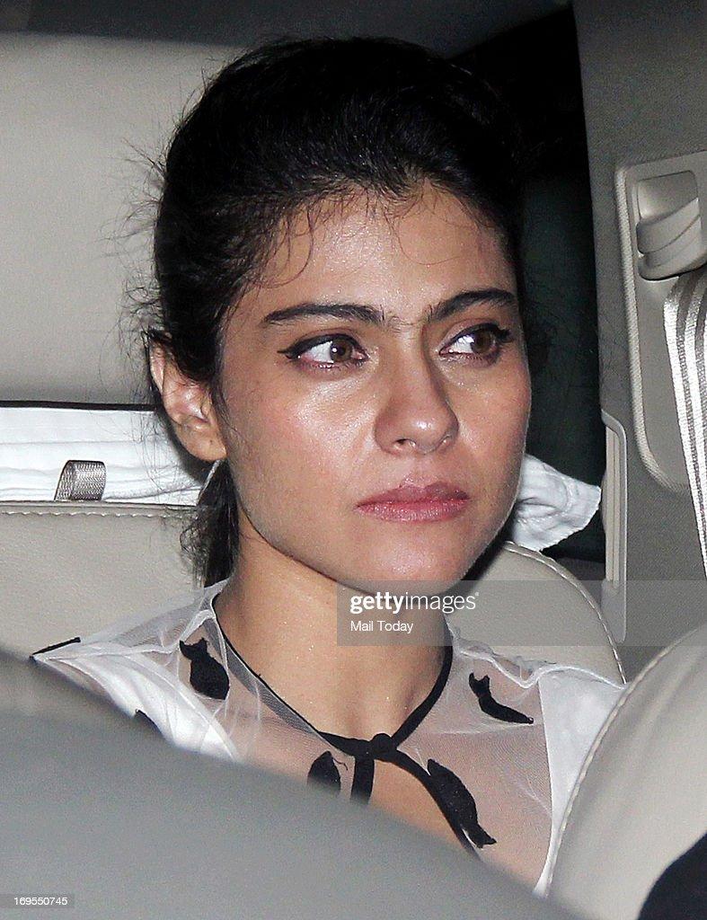 Bollywood actor Kajol arrives at Karan Johar`s birthday party in Mumbai on May 25 2013