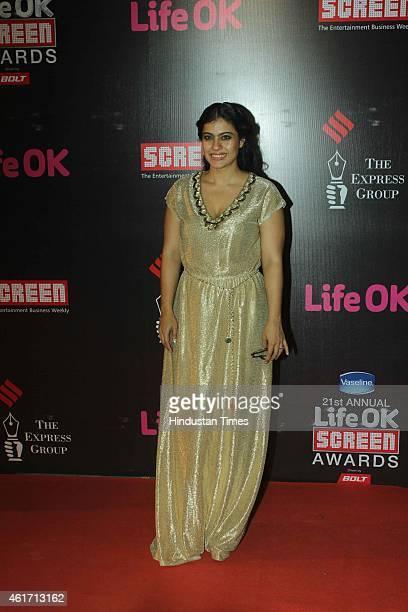 Bollywood actor Kajol Devgan during the 21st Annual Life OK Screen Awards at Bandra Kurla Complex on January 14 2015 in Mumbai India