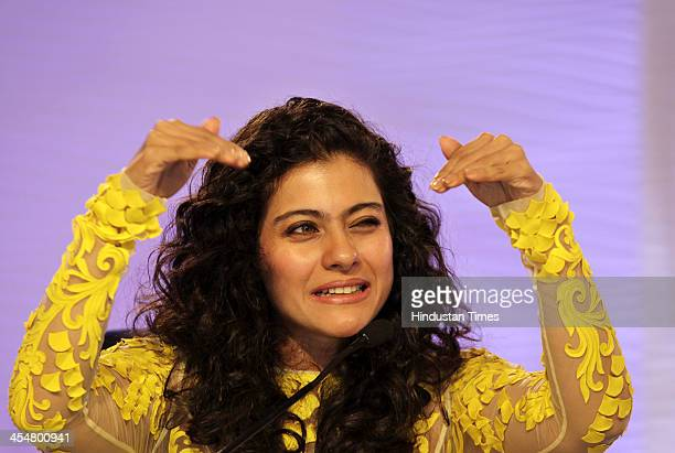 Bollywood actor Kajol Devgn during session of the Hindustan Times Leadership Summit on December 6 2013 in New Delhi India