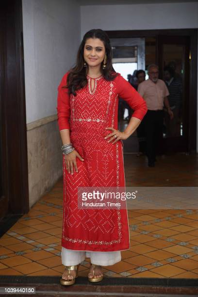 Bollywood actor Kajol Devgn during the promotion of her film Helicopter Eela at Sun N Sand Hotel on September 20 2018 in Mumbai India