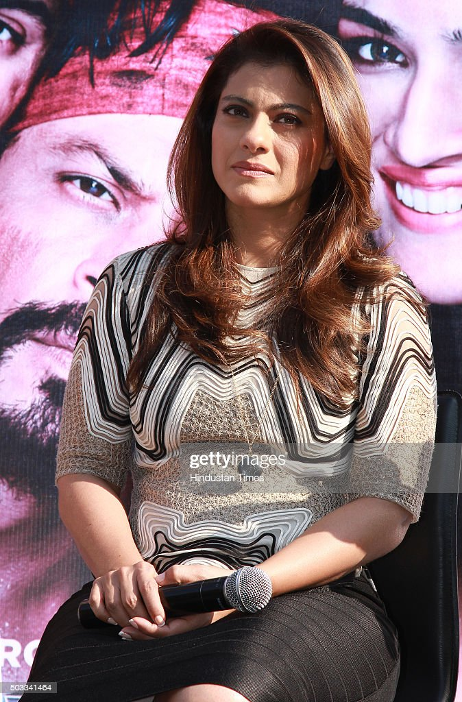 Bollywood actor Kajol during the promotion of her upcoming movie Dilwale at Dusit Devarana on December 16 2015 in New Delhi India