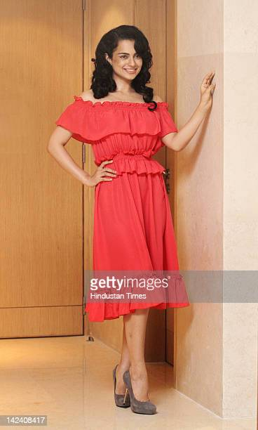 Bollywood actor Kangana Ranaut attends the music launch of her upcoming movie Tezz on March 30 2012 in New Delhi India The action thriller movie...