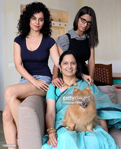 Bollywood actor Kangna Ranaut with her mother Asha Ranaut and sister Rangoli Ranaut pose for an exclusive HT shoot for the Mother's Day special on...