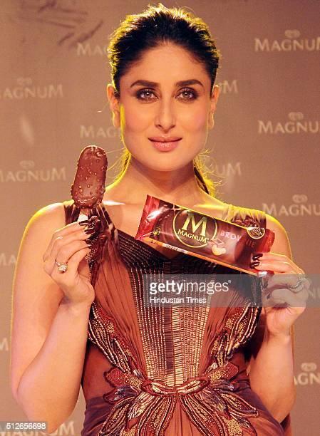 Bollywood actor Kareena Kapoor during the unveiling of new Magnum Ice Cream on February 25 2016 in Mumbai India Kareena Kapoor said 'I am thrilled...