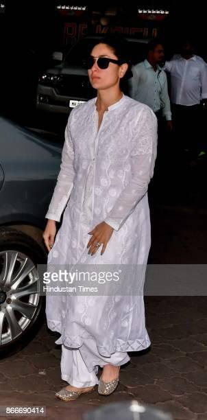 Bollywood actor Kareena Kapoor Khan during the prayer meeting in loving memory of Ram Mukherjee at ISCON Juhu on October 25 2017 in Mumbai India Ram...