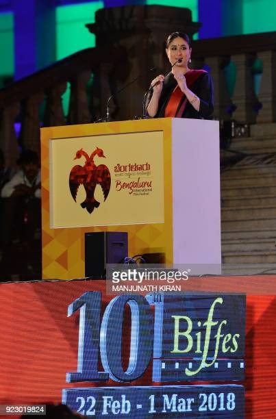 Bollywood actor Kareena Kapoor Khan speaks during the inauguration of the 10th Edition of Bangalore International Film Festival 2018 in front of the...