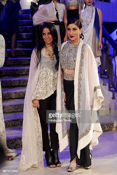 Bollywood actor Kareena Kapoor Khan with fashion designer Annamika Khanna walks the ramp during the grand finale show at the Lakme Fashion Week...