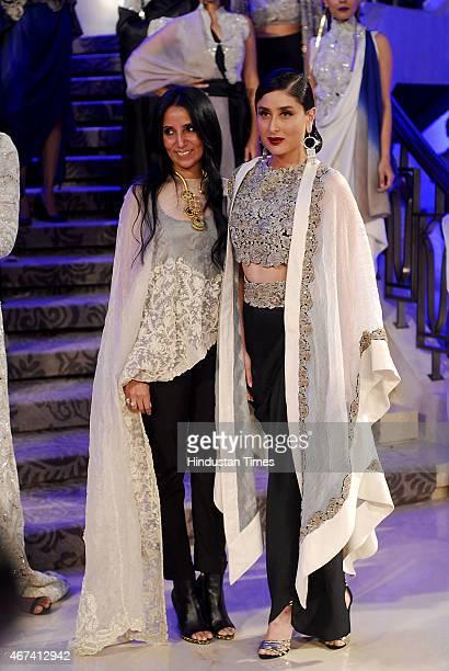 Bollywood actor Kareena Kapoor Khan with fashion designer Annamika Khanna walks the ramp during the grand finale show at the Lakme Fashion Week...
