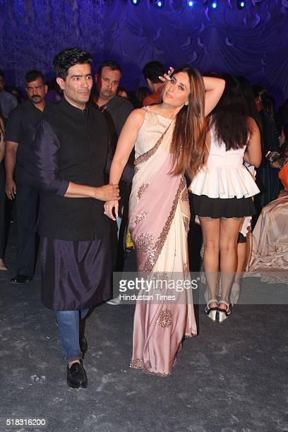 Bollywood actor Kareena Kapoor Khan with fashion designer Manish Malhotra during the opening show of Lakme Fashion Week Summer/Resort 2016 at Mehboob...