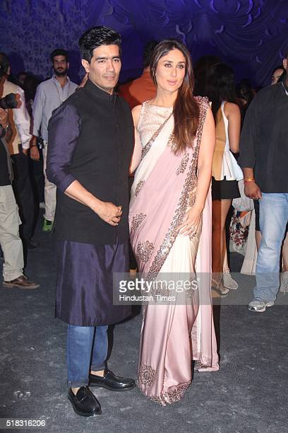 Bollywood actor Kareena Kapoor Khan with fashion designer Manish Malhotra during the opening show of Lakme Fashion Week Summer/Resort 2016 at Mehboob...