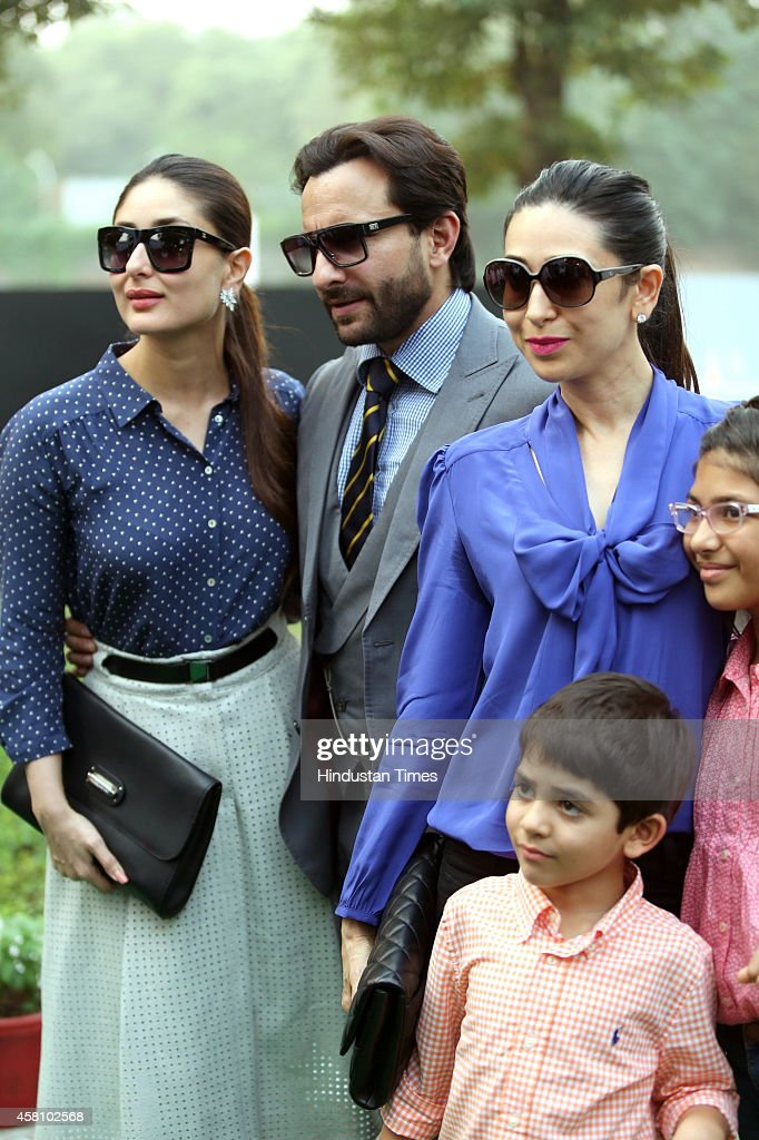Bollywood actor Kareena Kapoor with her husband Saif Ali Khan sister Karisma Kapoor and her children Samiera and Kiaan Raj during Bhopal Pataudi Polo.