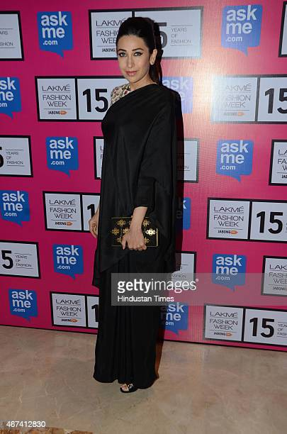 Bollywood actor Karishma Kapoor at Lakme Fashion Week Summer/Resort 2015 on March 22 2015 in Mumbai India