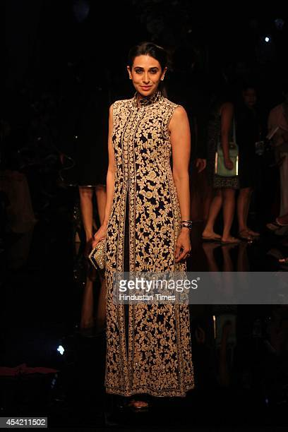 Bollywood actor Karishma Kapoor during show by fashion designer Manish Malhotra at the Lakme Fashion Week Winter/ Festive 2014 on August 24 2014 in...