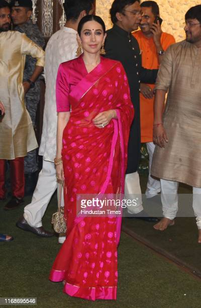 Bollywood actor Karishma Kapoor during the Ganesh Chaturthi celebrations at the residence of Reliance Chairperson Mukesh Ambani Antilia on September...