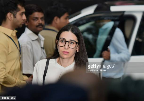 Bollywood actor Karisma Kapoor during a condolence meeting of late actor Shashi Kapoor at Prithvi Theatre Juhu on December 7 2017 in Mumbai India...