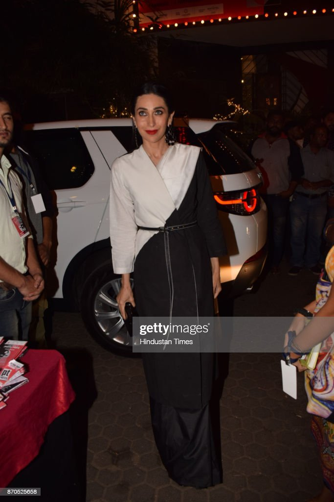 Bollywood actor Karisma Kapoor during an opening ceremony of Prthivi`s annual theatre festival on November 3 2017 in Mumbai India