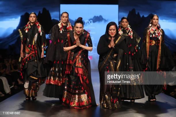 Bollywood actor Karisma Kapoor with Designer Sanjukta Dutta at Lotus Make-Up India Fashion Week Autumn Winter' 2019, at Jawahar Lal Nehru Stadium, on...