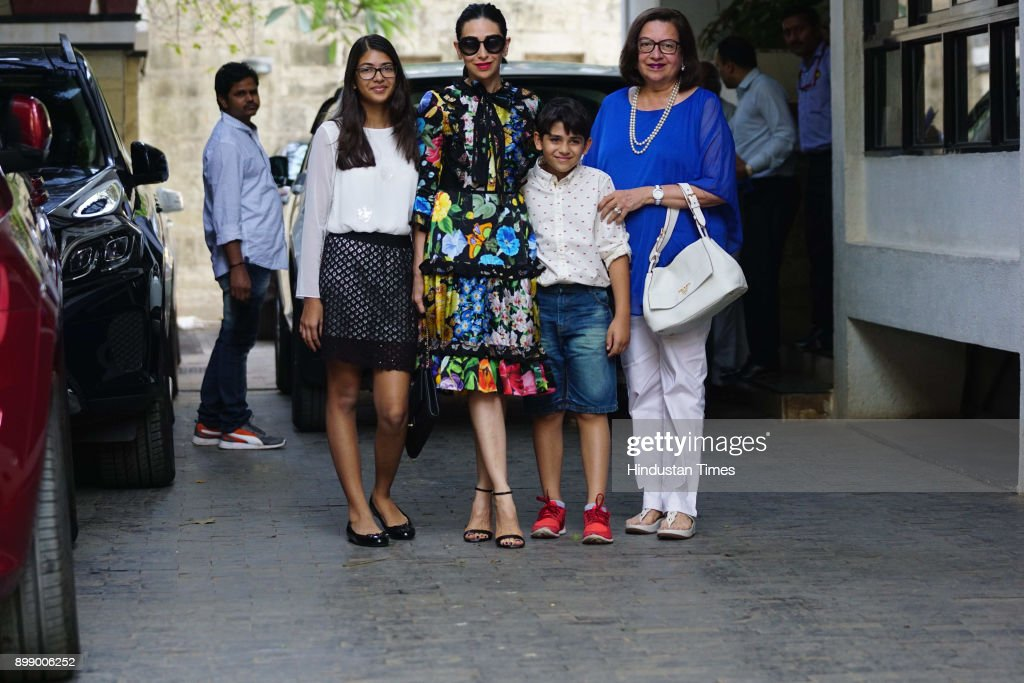 Bollywood actor Karisma Kapoor with her kids son Kiaan and daughter Samaira attended Christmas party at Kunal Kapoor`s Juhu residence on December 25..