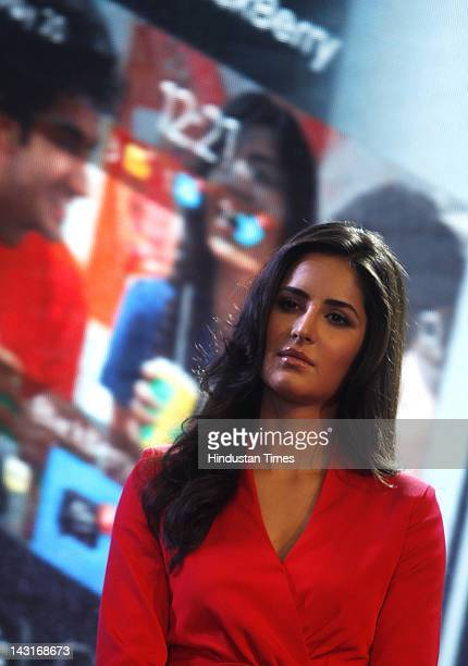 Bollywood actor Katrina Kaif appears during the launch of Blackberry Curve 9220 at a city hotel on April 18 2012 in New Delhi India