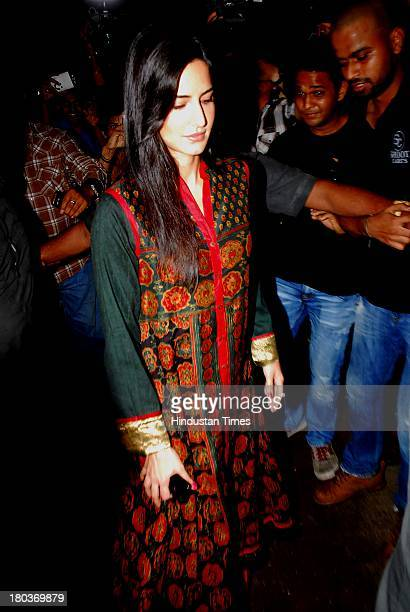 Bollywood actor Katrina Kaif during Ganpati immersion ceremony at Salman Khan's sister Alvira's residence Bandra on September 10 2013 in Mumbai India