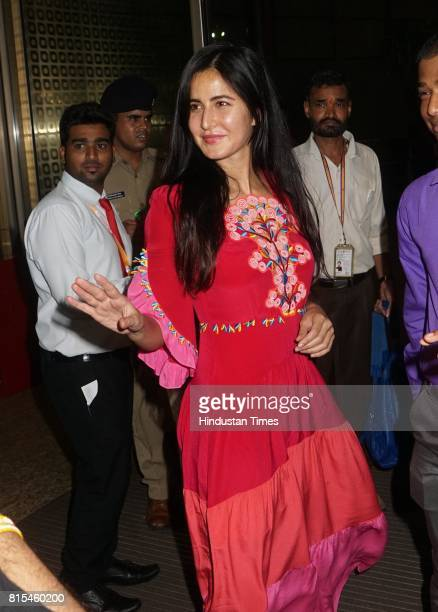 Bollywood actor Katrina Kaif spotted at airport while leaving for IIFA on July 12 2017 in Mumbai India
