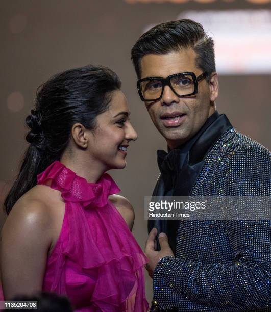 Bollywood actor Kiara Advani and Filmmaker Karan Johar during the Hindustan Times India's Most Stylish Awards 2019 at St. Regis on March 29, 2019 in...