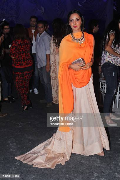 Bollywood actor Kiara Advani during the opening show of Lakme Fashion Week Summer/Resort 2016 at Mehboob Studio Bandra on March 29 2016 in Mumbai...