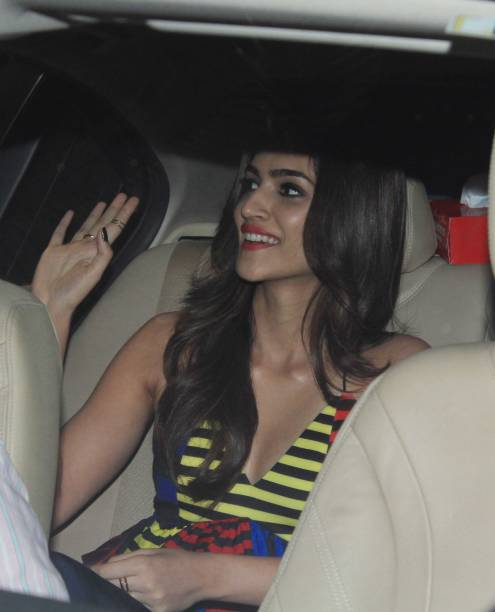 Bollywood actor Kriti Sanon arrives to attend the 45th birthday celebration party of filmmaker Karan Johar at his residence on May 25 2017 in Mumbai..
