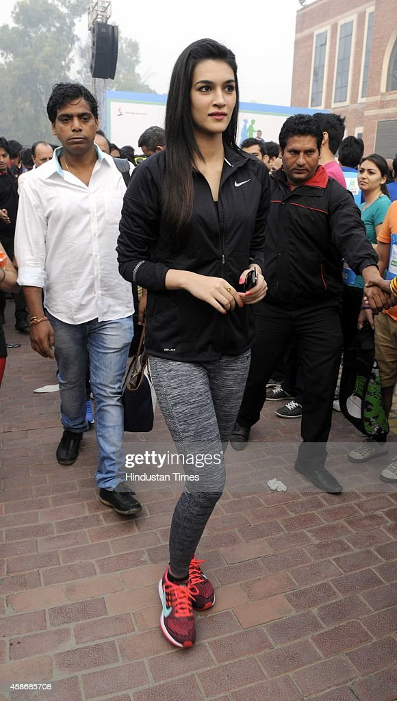 Bollywood actor Kriti Sanon during the flag off ceremony of `Walk for Health` at Major Dhyan Chand National Stadium on November 9 2014 in New Delhi...