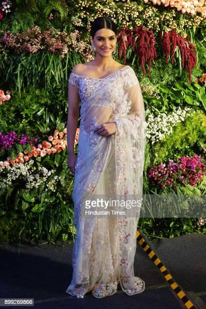 Bollywood actor Kriti Sanon during wedding reception of Virat Kohli and Anushka Sharma at St Regis Hotel Lower Parel on December 26 2017 in Mumbai...