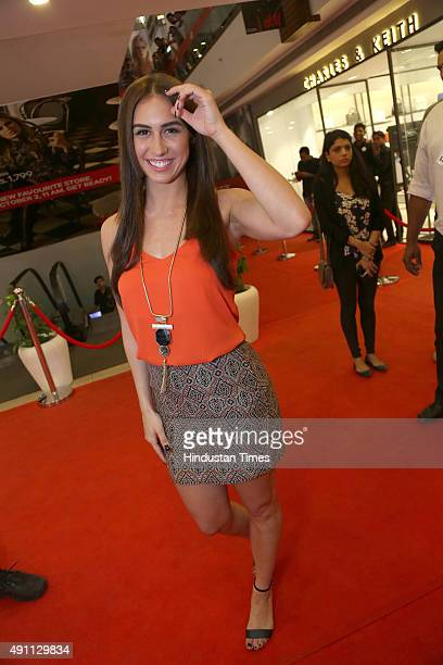 Bollywood actor Lauren Gottlieb during the launch of HM India's flagship store at Select CITYWALK Saket on September 30 2015 in New Delhi India