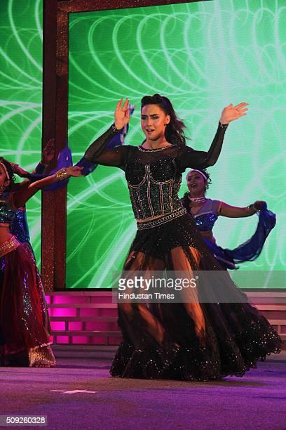 Bollywood actor Lauren Gottlieb performs during the Swarovski Gemstones National Jewellery Awards 201516 on February 6 2016 in Mumbai India