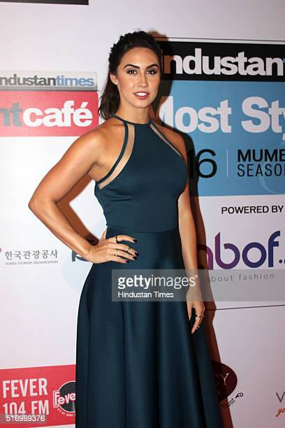 Bollywood actor Lauren Gottlieb poses for camera on red carpet during Hindustan Times Most Stylish Awards 2016 at Taj Lands End Bandra on March 20...